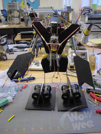 The first prototype for Robosapiens, built at the Telluride Neuromorphic Engineering Workshop in 2001.